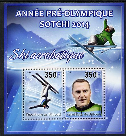 Djibouti 2013 Sochi Winter Olympics - Freestyle Skiing perf sheetlet containing 2 values unmounted mint