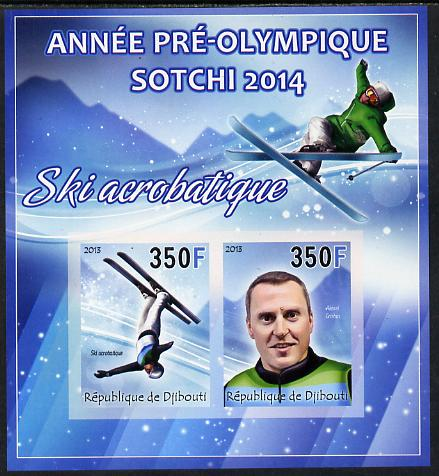 Djibouti 2013 Sochi Winter Olympics - Freestyle Skiing imperf sheetlet containing 2 values unmounted mint