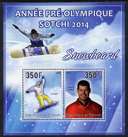 Djibouti 2013 Sochi Winter Olympics - Snowboarding perf sheetlet containing 2 values unmounted mint