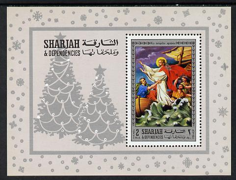 Sharjah 1971 Life of Christ  #3 perf m/sheet (Walking on Water) Mi BL 79A unmounted mint