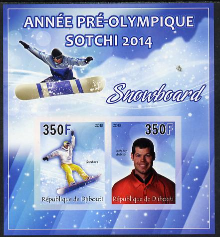 Djibouti 2013 Sochi Winter Olympics - Snowboarding imperf sheetlet containing 2 values unmounted mint