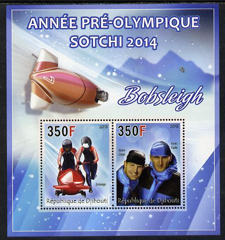 Djibouti 2013 Sochi Winter Olympics - Bobsled perf sheetlet containing 2 values unmounted mint