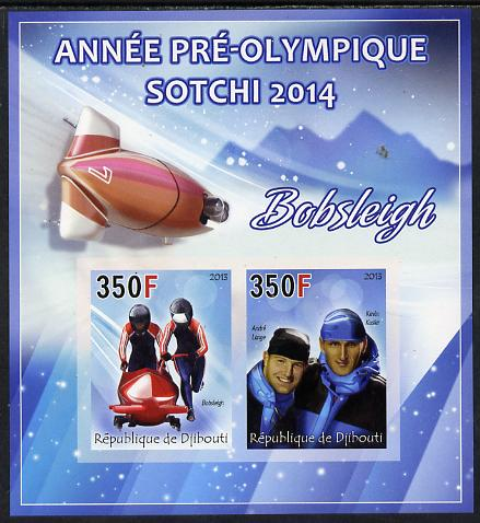 Djibouti 2013 Sochi Winter Olympics - Bobsled imperf sheetlet containing 2 values unmounted mint
