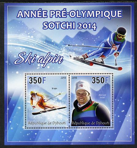 Djibouti 2013 Sochi Winter Olympics - Alpine Skiing perf sheetlet containing 2 values unmounted mint