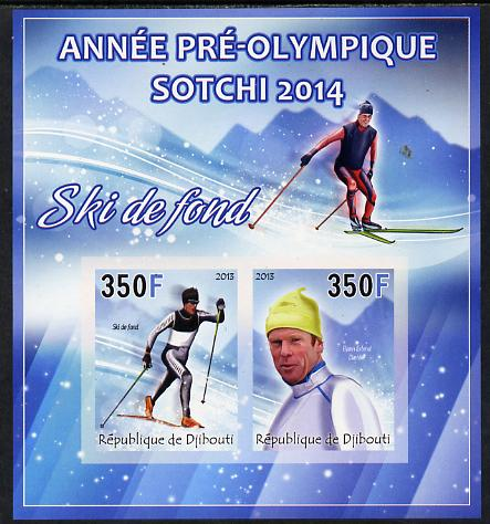 Djibouti 2013 Sochi Winter Olympics - Cross-Country Skiing imperf sheetlet containing 2 values unmounted mint