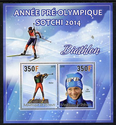 Djibouti 2013 Sochi Winter Olympics - Biathlon perf sheetlet containing 2 values unmounted mint