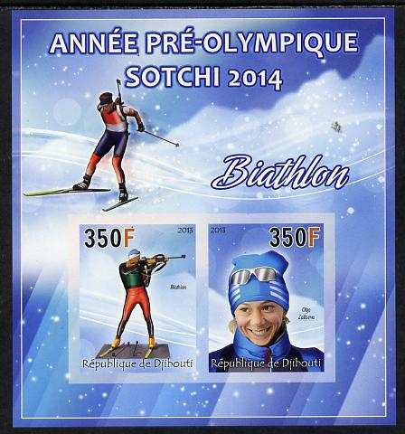 Djibouti 2013 Sochi Winter Olympics - Biathlon imperf sheetlet containing 2 values unmounted mint