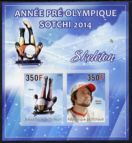 Djibouti 2013 Sochi Winter Olympics - Skeleton imperf sheetlet containing 2 values unmounted mint, stamps on olympics, stamps on  ice , stamps on  bobsled, stamps on skeleton