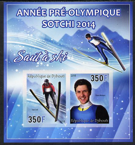 Djibouti 2013 Sochi Winter Olympics - Ski Jumping imperf sheetlet containing 2 values unmounted mint