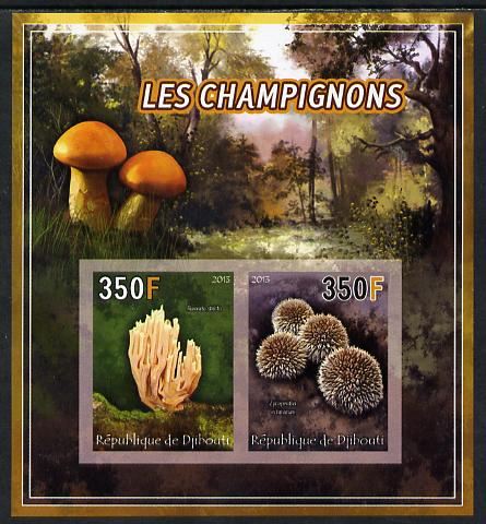 Djibouti 2013 Fungi #4 imperf sheetlet containing 2 values unmounted mint