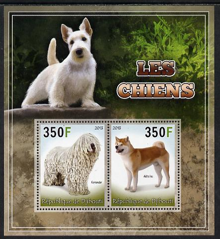 Djibouti 2013 Dogs #4 perf sheetlet containing 2 values unmounted mint