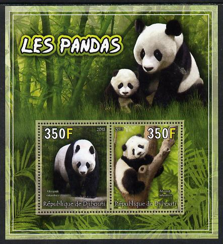 Djibouti 2013 Pandas perf sheetlet containing 2 values unmounted mint
