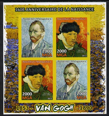 Madagascar 2013 160th Birth Anniversary of Vincent Van Gogh imperf sheetlet containing 4 values unmounted mint