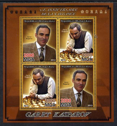 Madagascar 2013 Garry Kasparov (chess) perf sheetlet containing 4 values unmounted mint
