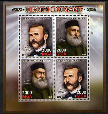 Madagascar 2013 Henry Dunant perf sheetlet containing 4 values unmounted mint