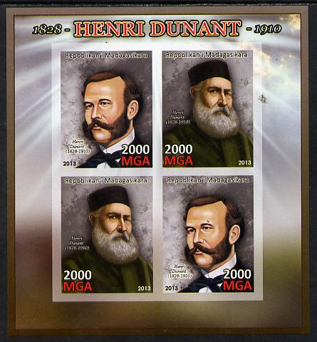 Madagascar 2013 Henry Dunant imperf sheetlet containing 4 values unmounted mint