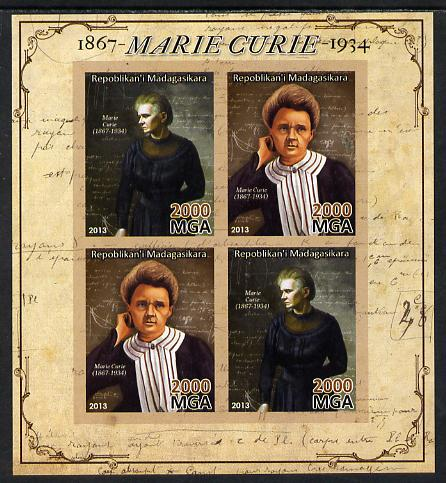 Madagascar 2013 Marie Curie imperf sheetlet containing 4 values unmounted mint