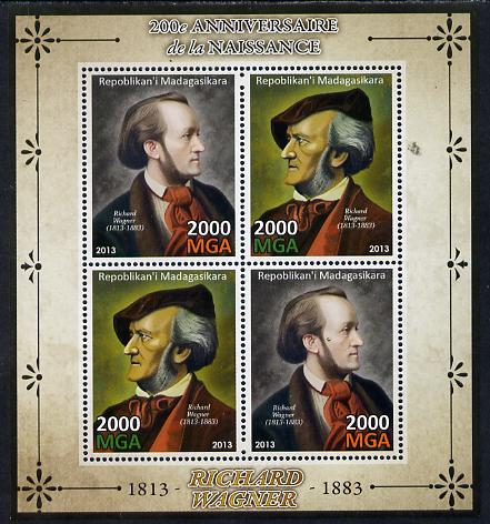 Madagascar 2013 200th Birth Anniversary of Richard Wagner perf sheetlet containing 4 values unmounted mint