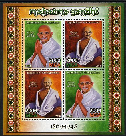 Madagascar 2013 Mahatma Gandhi perf sheetlet containing 4 values unmounted mint, stamps on personalities, stamps on gandhi, stamps on constitutions