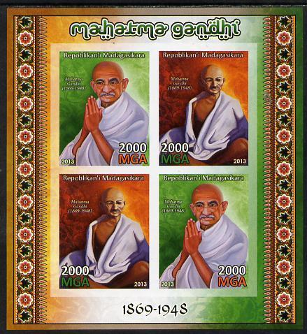 Madagascar 2013 Mahatma Gandhi imperf sheetlet containing 4 values unmounted mint