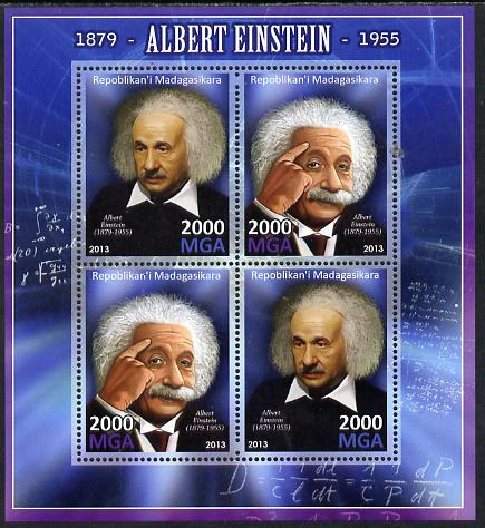 Madagascar 2013 Albert Einstein perf sheetlet containing 4 values unmounted mint