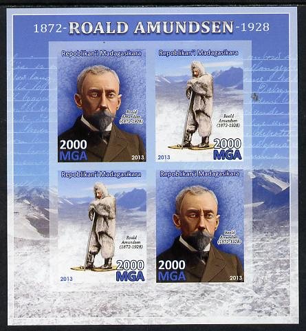 Madagascar 2013 Roald Amundsen imperf sheetlet containing 4 values unmounted mint, stamps on personalities, stamps on explorers, stamps on polar
