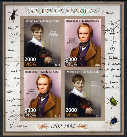 Madagascar 2013 Charles Darwin imperf sheetlet containing 4 values unmounted mint