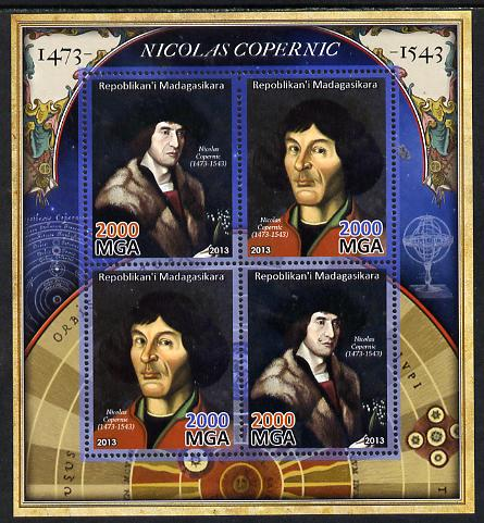 Madagascar 2013 Nicolaus Copernicus perf sheetlet containing 4 values unmounted mint