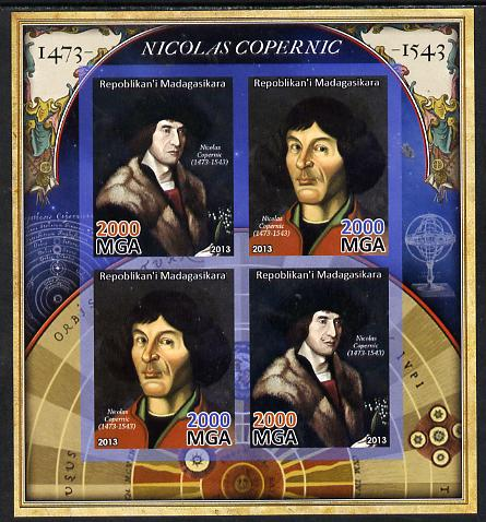 Madagascar 2013 Nicolaus Copernicus imperf sheetlet containing 4 values unmounted mint