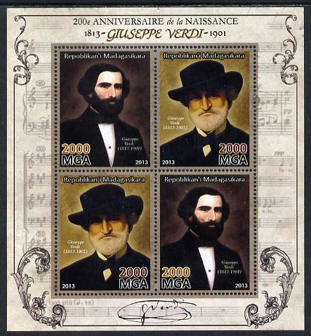 Madagascar 2013 200th Birth Anniversary of Giuseppe Verdi perf sheetlet containing 4 values unmounted mint