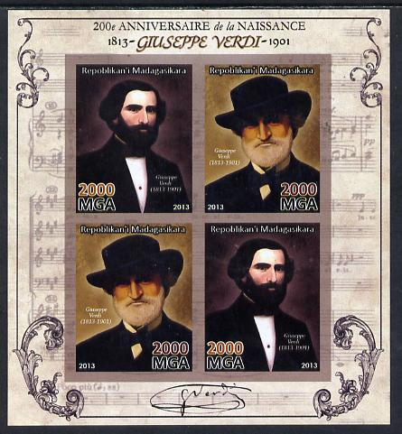 Madagascar 2013 200th Birth Anniversary of Giuseppe Verdi imperf sheetlet containing 4 values unmounted mint