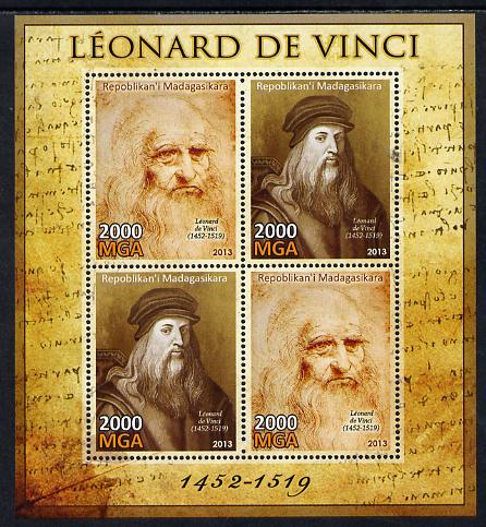 Madagascar 2013 Leonardo da Vinci perf sheetlet containing 4 values unmounted mint