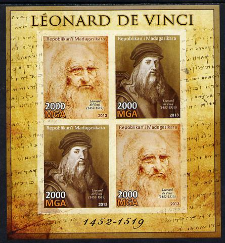 Madagascar 2013 Leonardo da Vinci imperf sheetlet containing 4 values unmounted mint