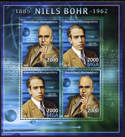 Madagascar 2013 Niels Bohr (physicist) perf sheetlet containing 4 values unmounted mint