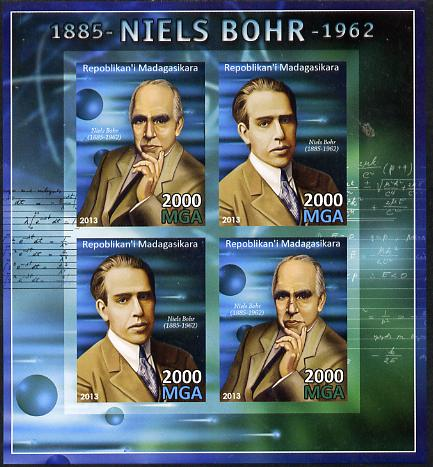Madagascar 2013 Niels Bohr (physicist) imperf sheetlet containing 4 values unmounted mint