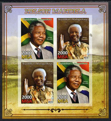 Madagascar 2013 Nelson Mandela imperf sheetlet containing 4 values unmounted mint, stamps on personalities, stamps on mandela, stamps on nobel, stamps on peace, stamps on racism, stamps on human rights