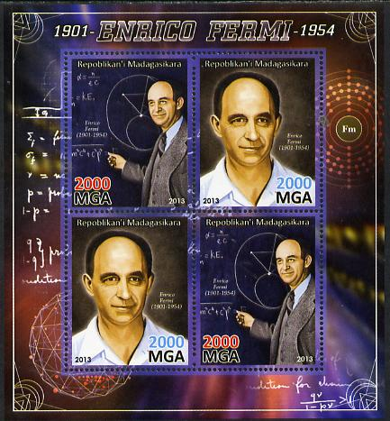 Madagascar 2013 Enrico Fermi (physicist) perf sheetlet containing 4 values unmounted mint