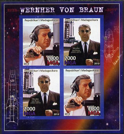 Madagascar 2013 Wernher von Braun (rocket engineer) imperf sheetlet containing 4 values unmounted mint