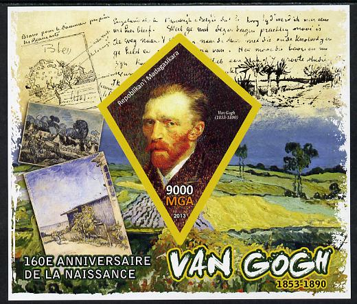 Madagascar 2013 160th Birth Anniversary of Vincent Van Gogh imperf deluxe sheet containing one diamond shaped value unmounted mint