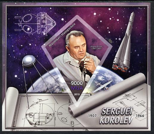 Madagascar 2013 Sergei Korolev (rocket engineer) imperf deluxe sheet containing one diamond shaped value unmounted mint