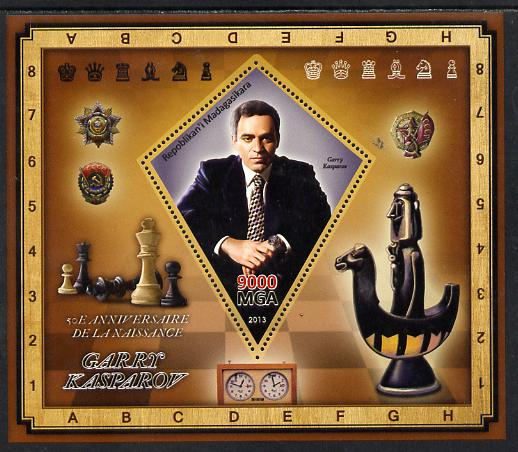 Madagascar 2013 Garry Kasparov (chess) perf deluxe sheet containing one diamond shaped value unmounted mint