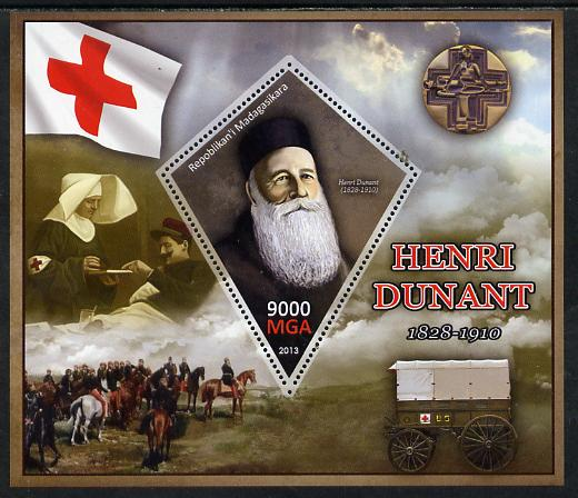 Madagascar 2013 Henry Dunant perf deluxe sheet containing one diamond shaped value unmounted mint