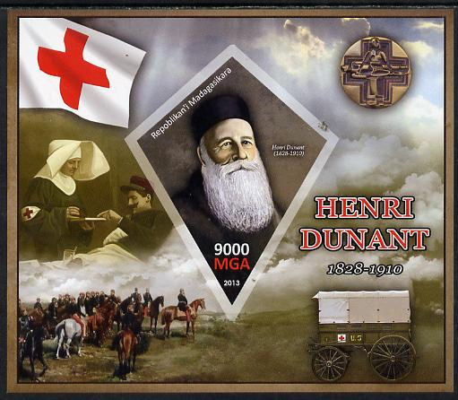 Madagascar 2013 Henry Dunant imperf deluxe sheet containing one diamond shaped value unmounted mint