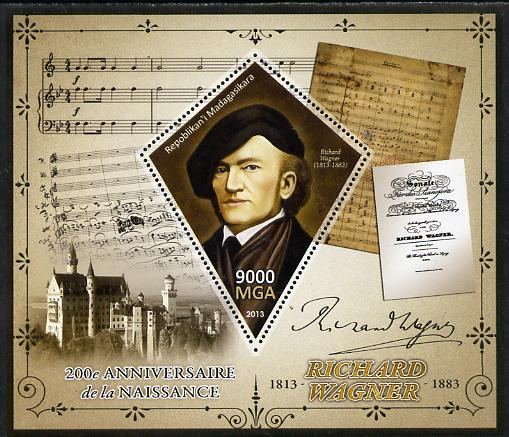 Madagascar 2013 200th Birth Anniversary of Richard Wagner perf deluxe sheet containing one diamond shaped value unmounted mint