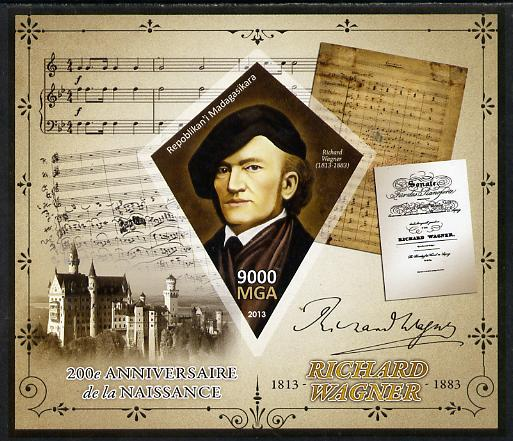 Madagascar 2013 200th Birth Anniversary of Richard Wagner imperf deluxe sheet containing one diamond shaped value unmounted mint