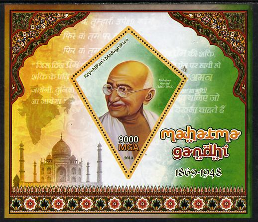 Madagascar 2013 Mahatma Gandhi perf deluxe sheet containing one diamond shaped value unmounted mint
