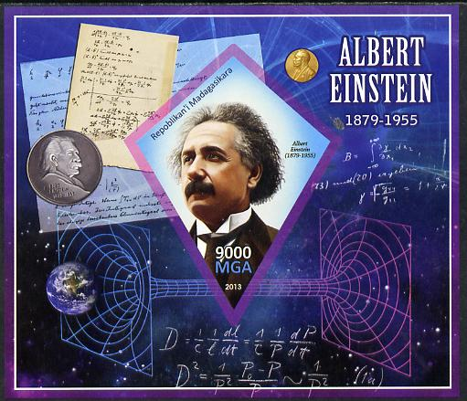 Madagascar 2013 Albert Einstein imperf deluxe sheet containing one diamond shaped value unmounted mint