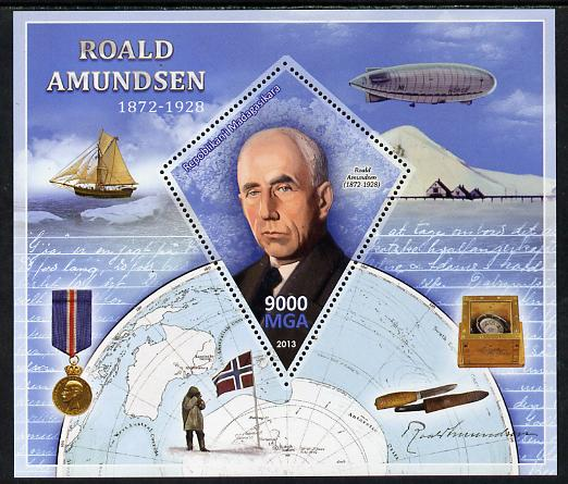 Madagascar 2013 Roald Amundsen perf deluxe sheet containing one diamond shaped value unmounted mint