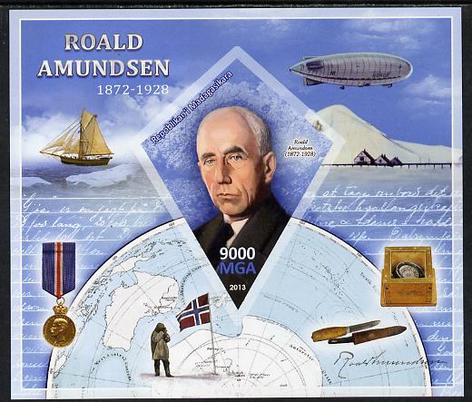 Madagascar 2013 Roald Amundsen imperf deluxe sheet containing one diamond shaped value unmounted mint
