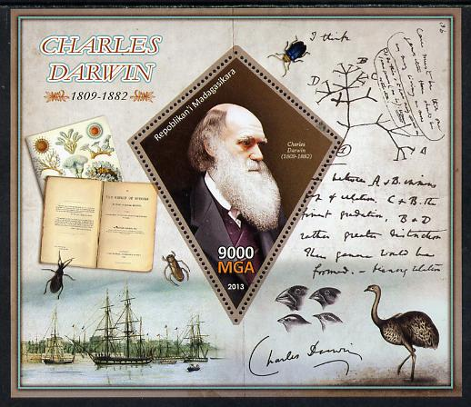 Madagascar 2013 Charles Darwin perf deluxe sheet containing one diamond shaped value unmounted mint